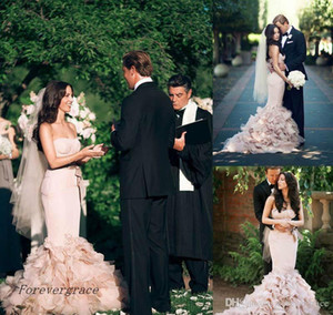 Wholesale 2019 New Romantic Blush Pink Long Mermaid Wedding Dress Sweetheart Cascading Ruffles Backless Formal Bridal Gown Plus Size Custom Made