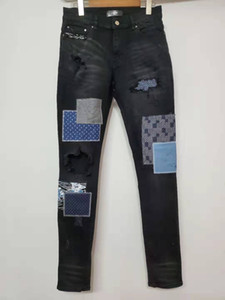 Wholesale FALECTION FW USA FASHION CALIFORNIA AMIMIKE JAPAN PATCHWORK EMBROIDERED RIPPED JEANS