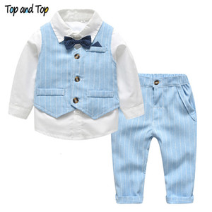 Wholesale Top and Top Spring&Autumn Baby Boy Gentleman Suit White Shirt with Bow Tie+Striped Vest+Trousers 3Pcs Formal Kids Clothes Set V191109