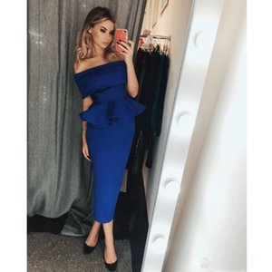 Wholesale ankle length ivory cocktail dresses for sale - Group buy Blue Prom Dresses Off The Shoulder Evening Gowns Ankle Length Formal Cocktail Dress Formal Gowns