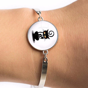 Cartoon Cats Bracelet animal cat jewelry silver glass Art picture charm bracelet bangle Women jewelry for wedding bridal