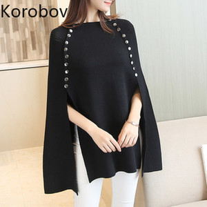 Korobov Pullovers Women Cloak Autumn New Knitted Double Breasted Oversize Sweaters Batwing Sleeve Solid Sueter Mujer 78524