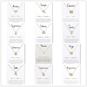 Wholesale 12 constellation Signs Pendant Necklaces with white Gift card zodiac charm Gold chains For Men Women Fashion Jewelry in Bulk