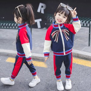 Wholesale 2019 Spring Autumn Kids Cute Bow Clothing Set Girl Boy Kids Tracksuit Children Clothes Long Sleeve Coat Trousers Clothing Set