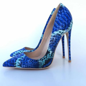 Wholesale New Arrive Women Shoes Blue Snake Printed Sexy Stilettos High Heels cm Toe Tip Women Pumps