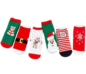 Wholesale Christmas Sock Baby Middle tube socks Kids Cotton Christmas Tree Santa Claus Deer Socking Kids Middle Red Christmasn Baby girl boy Soft sock