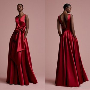Aso Ebi Rose Red Long Evening Dresses Pockets Nigerian Sexy Backless Evening Gowns 2019 Bow Deep V-neck African Formal Dress Gonna on Sale