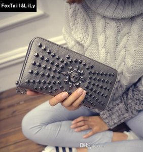 Factory direct selling women bag personality skeleton punk hand wallet European and American fan rivet fashionable long wallet trend leather