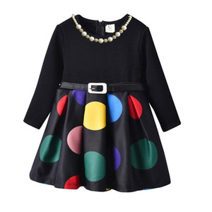 Wholesale Girls dresses long sleeve Princess Dresses belt Childrens Dresses Dot Printing necklace Kids Dress kids designer clothes Girl Clothes A2743