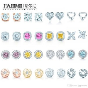 FAHMI 100% 925 Sterling Silver Original Authentic Classic Charm Gem Gift Exquisite Wedding Women Earrings Jewelry Free Shipping