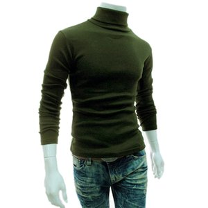Wholesale New Casual Men Long Sleeve Knitwear Autumn Winter Turtle Neck Slim Fit Basic Pullover Tops MV66