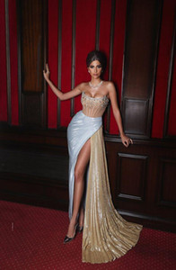 Wholesale sexy girls robe resale online - Sexy Arabic Evening Dresses Strapless High Split Crystal Beads Mermaid Prom Dresses Custom Made Black Girls Robes De Soirée