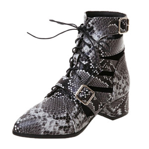 Wholesale 2019 Stylish Women Booties Autumn Winter Hollow Snake Print Pointed Toe Thick Heel Shoes Female Casual Ankle Snow Boots Sandals