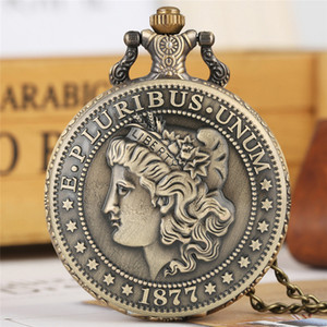 Wholesale half dollar coin resale online - Bronze Classic American Coin Morgan Half Dollar Pocket Watches Analog Quartz Movement Clock Necklace Chain Gift