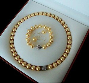 Wholesale real golden necklace resale online - Jewelryr Pearl Set Rare mm Real South Sea Golden Shell Pearl Necklace Bracelet Earrings Set