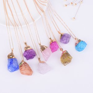 Wholesale Natural irregular rough stone crystal pendant European American fashion multicolor gold ring Natural Stone Pendant Druzy Drusy Necklace