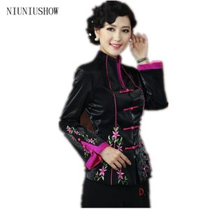 Wholesale New Black Chinese Women s Silk Coat Traditional Embroidered Tang Suit Flower Jacket Size S M L XL XXL XXXL