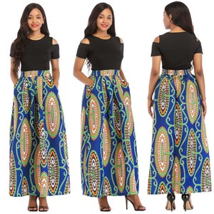 Wholesale Womens African Printed Sexy Two Piece Floral Print Pockets Casual Long Party Flared A Line Skirts Dress