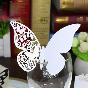 Wholesale Butterfly Shaped Laser Cut Paper Place Card Cup Card Wine Glass Card For Wedding Decoration Party Favor