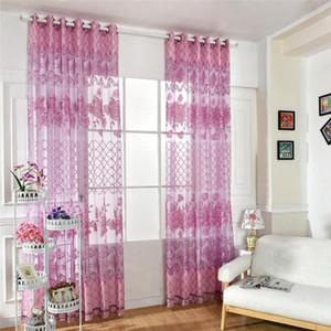 Wholesale 1PC Flower Window Curtain Embroidered Sheer Screen Yarn Panel for Living Bedroom Window Decoration Tulle Curtains Sheer Curtains