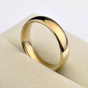 New Fashion Gold Color Alliance 1pcs Gold Plating Couples Tungsten Wedding Rings Dome Band 5mm For Man 3.5mm For Woman SH190716 on Sale