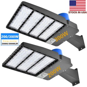 Wholesale 5Pack-Parking Lot Lights LED Shoebox Pole Light, 150W 200W 300W 5700K, Direct Wiring AC 100-277V,Street Parking Lot Lights, Free Photocell