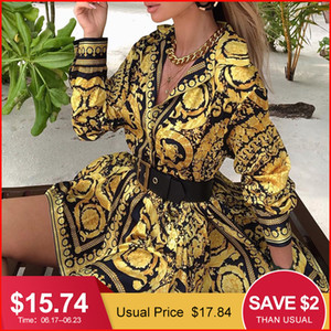 Wholesale Glamaker Sexy Paisley Vintage Print Gold Dress Women Holiday Beach Short Dress Summer Elegant Party Club Dress Large Size Robe J190619