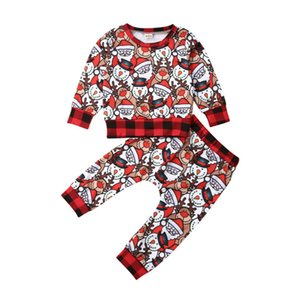 Wholesale Toddler Kid Baby Boys Girls Autumn Christmas Clothes Santa Claus T Shirt Tops Long Pants Outfits Snowman Gift Xmas Set