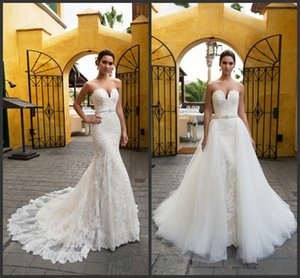 Sweetheart Neck Mermaid Lace With Detachable Train Floor Length African Saudi Wedding Gowns Backless Beach vestido party on Sale
