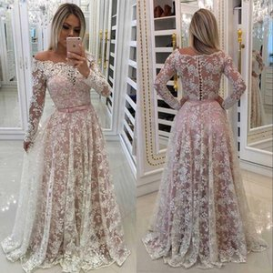 Wholesale Muslim Lace Evening Dresses 2019 A-line Off Shoulder Long Sleeves Plus Size Saudi Arabic Dubai Long Prom Gowns Formal Dress Graduation Dress