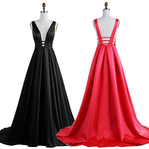 2019 Plus Size Evening Dresses Formal Gowns Sexy Backless Sweep Train Satin Deep V-Neck Simple Robe De Soiree on Sale