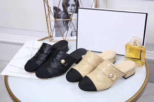 Wholesale Beige Black Sheepskin Pearls Slippers with box cm low heel Fashion Classic Spring Dress Shoes Moccasins