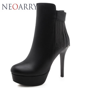 Neoarry 2018 Big Size 32-42 Party Booties Woman Fashion High Heels Women's Shoes Sexy Tassel Chains Winter Ankle Boots female