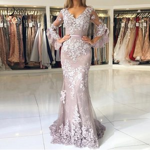 Wholesale Elegant Lavender Lace Mermaid Evening Dresses 2019 Modest Long Prom Gowns With Puffy Full Sleeves Appliques Abendkleider