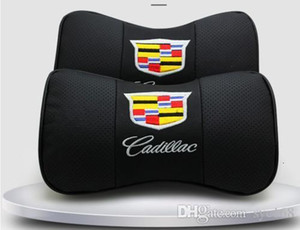 Neck pad, luxury custom 2Pcs leather car seat cushion neck pillow cushion car headrest for all Cadillac cars, advanced comfort luxury shock