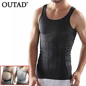 Wholesale OUTAD Men Corset Body Slimming Tummy Shaper Running Vest Belly Waist Girdle Shirt Black Shapewear Underwear Waist Girdle Shirts