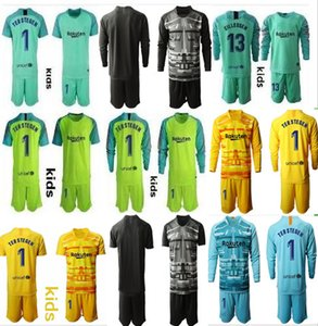 Youth 2019-2020 Long Ter Stegen Goalkeeper Jersey Kids Kit Soccer Sets #1 Marc-Andre Ter Stegen Kid Boys Any Name Number Goalkeeper Uniform