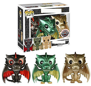 Funko pop Electroplating Amine three colors Dragon Vinyl Action Figure Collectible Model Toys 3pcs a set