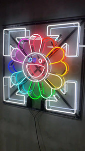 NEON SIGN24*24 inches Murakami Sun Flower tube Neon Light Sign Home Beer Bar Pub Recreation Room Game Lights Windows Glass Wall Signs