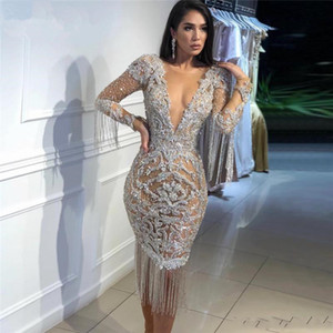 Wholesale coctail dresses resale online - Sexy Deep V Neck See Through Evening Dresses Tulle Arabic Dubai Robe de soiree Longue Coctail Party Dress Tea Length Formal Prom Gowns
