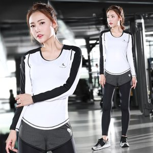 The new gym yoga clothing suit sportswear clothing female running thin dry long sleeved two piece fitness sports vest shorts set #301196
