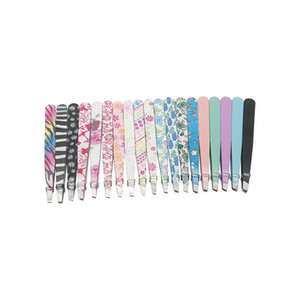 24 pcs lot Pattern Stainless Steel Eyebrow Tweezers NEW fashion Hair removal factory power eyebrow Makeup Tools