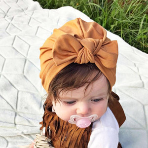 Wholesale Children Winter Rabbit Ears Cotton Head Band Kids Turban Newborn Knot Hairband India Headband Baby Bow Knot Head Cap Hat