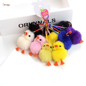 Wholesale Cute Pom Poms Little Yelloe Chicken Soft Real Key Chain Bag Pendant Accessories Yellow Duck Hanging Car Ornament