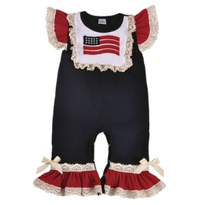 Wholesale Baby Girl Striped Jumpsuits Kids O Neck Stars Short Sleeve Jumpsuits American Flag Independence National Day USA th July Embroidered