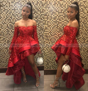 Wholesale Sparkly Sequined Hi-Lo Prom Evening Dress Red Off Shoulder Long Sleeves Black Girl Party Dresses 2019 Sexy Formal Pageany Gown BC2171