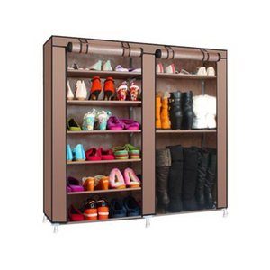Double Rows 9 Lattices Combination Style Shoe Cabinet Wine Coffee Color