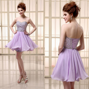 Wholesale Cheap Short Lilac Chiffon Dress with Lace Up Sweetheart Sequined and Beads Prom Party Dresses Custom Made SD103