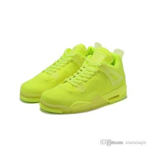 Wholesale Cheap mens Jumpman retro s basketball shoes j4 Neon Green Yellow Blue Red FK Bred Drake new air flight sneakers tennis with box size