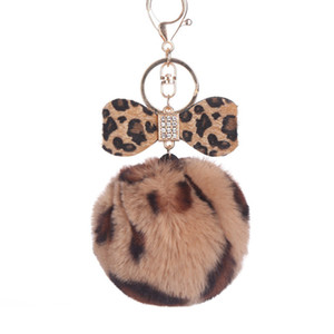 Wholesale Bowknot Women key chain Fur Ball keychain Fake Rabbit Pompom for Female Car Bag llavero llaveros para mujer sleutelhanger